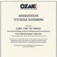 Комплексная испытательная лаборатория при СП ООО «O'zbek-Turk Test Markazi» успешно прошла аккредитацию по Oʻz DSt ISO/IEC 17025:2019